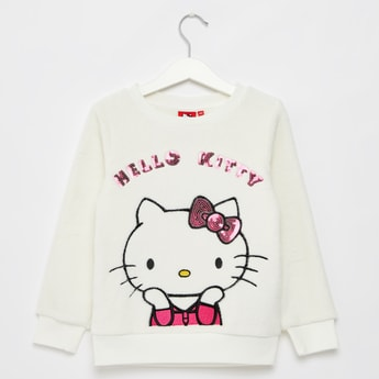 Hello Kitty Print Round Neck Sweat Top with Long Sleeves