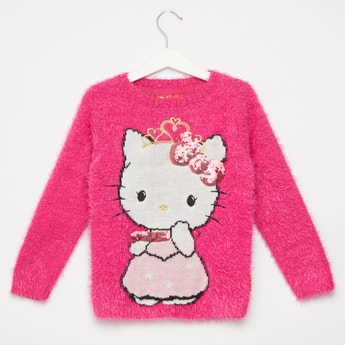 Hello Kitty Embellished Round Neck Sweater with Long Sleeves