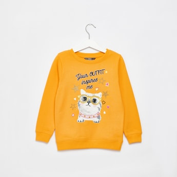 Cat Graphic Print Sweat Top with Long Sleeves