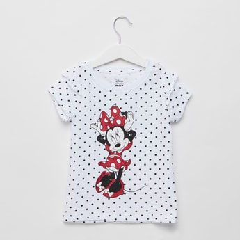 Minnie Mouse Print Round Neck T-shirt with Cap Sleeves