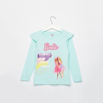 Barbie Print T-shirt with Long Sleeves and Ruffle Detail
