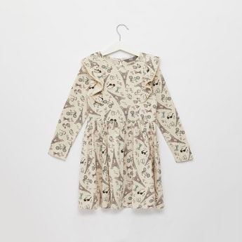 All-Over Print Knee Length Dress with Long Sleeves and Frill Detail