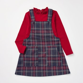 Checked Pinafore Midi Dress and High Neck Top Set