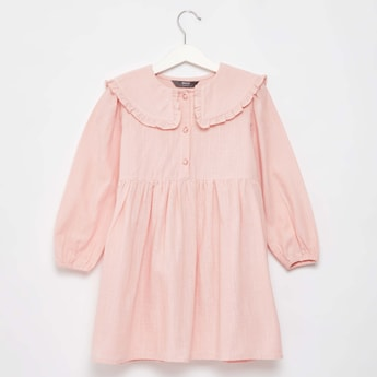 Solid Shirt Dress with Collar and Long Sleeves