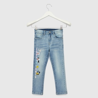 Looney Tunes Graphic Print Jeans with Pocket Detail