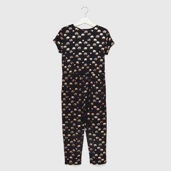 All-Over Elephant Foil Print Jumpsuit with Cap Sleeves