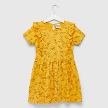 All-Over Tweety Print Dress with Short Sleeves and Frill Detail