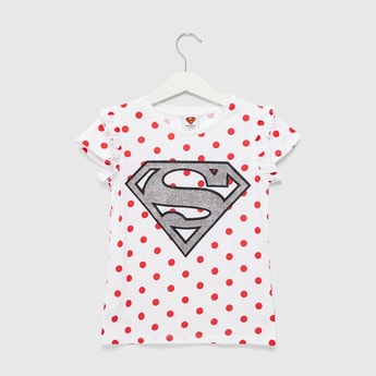Superman Print T-shirt with Round Neck and Cap Sleeves