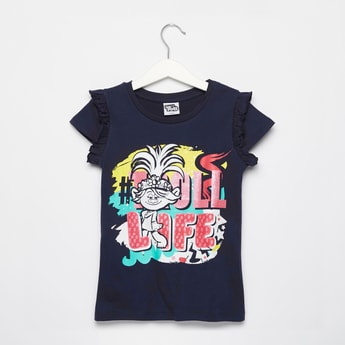 Trolls Graphic Print T-shirt with Round Neck and Ruffle Detail