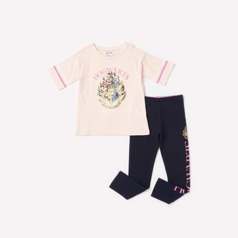 Harry Potter Graphic Print T-shirt and Full Length Leggings Set