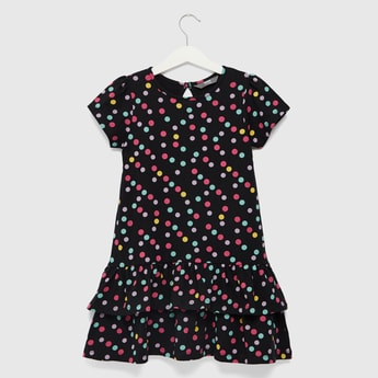 Polka Dot Print Round Neck Tiered Dress with Short Sleeves