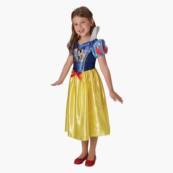 فستان سنووايت ميدي بأكمام منفوخة وياقة منمقة