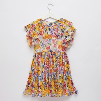 Floral Print Knee Length Dress with Cap Sleeves and Ruffle Detail