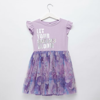 Slogan Print Knee Length Dress with Round Neck and Cap Sleeves