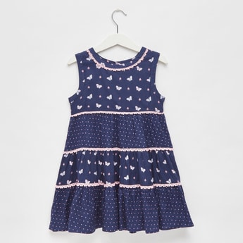 Butterfly Print Tiered Sleeveless Dress with Lace Detail