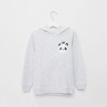 Panda Print Hooded Sweatshirt with Long Sleeves