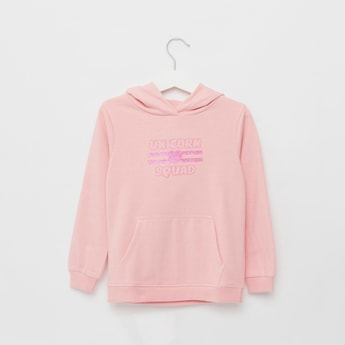 Slogan Print Sweatshirt with Long Sleeves and Kangaroo Pockets