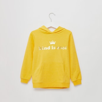 Slogan Print Sweatshirt with Long Sleeves and Hooded Neckline