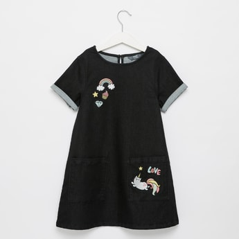 Embroidered Round Neck A-line Mini Dress with Short Sleeves