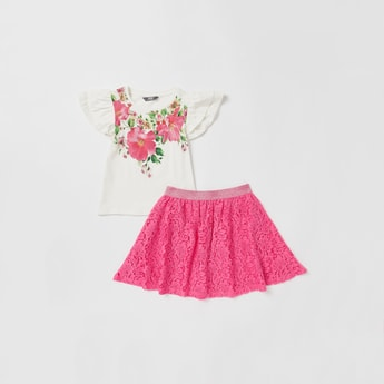 Floral Print Cap Sleeves Top and Skirt Set