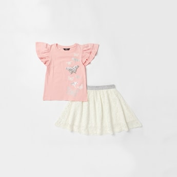 Embellished Detail Cap Sleeves T-shirt with Lace Skirt Set