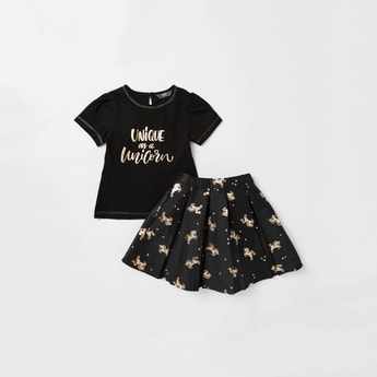 Slogan Print Round Neck T-shirt with Unicorn Print Skirt Set