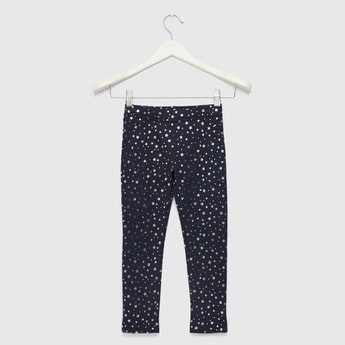 All-Over Star Foil Print Jeggings with Elasticised Waistband