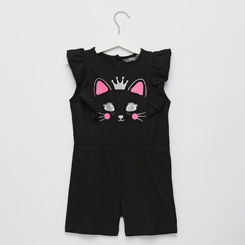 Cat Print Round Neck Playsuit with Button Closure
