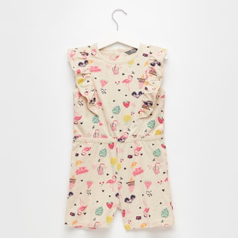 Printed Knee-Length Playsuit with Ruffles and Button Closure
