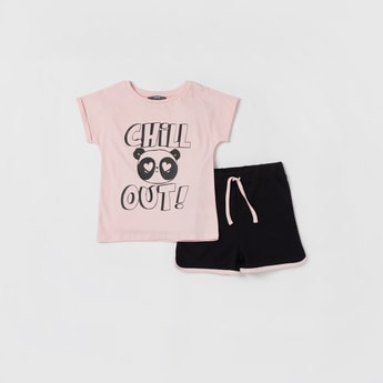Printed Cap Sleeves T-shirt and Drawstring Detailed Shorts Set