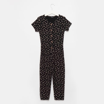 Spot Print Jumpsuit with Round Neck and Short Sleeves