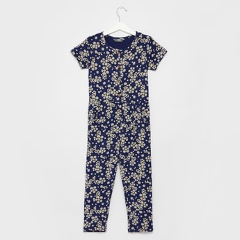 All-Over Floral Print Jumpsuit with Round Neck and Short Sleeves