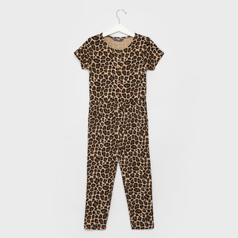 All-Over Animal Print Jumpsuit with Round Neck and Short Sleeves