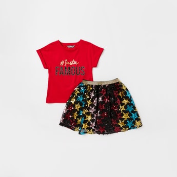 Printed Round Neck T-shirt and Sequin Embellished Skirt Set