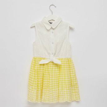 Textured Sleeveless Dress with Spread Collar and Schiffli Detail