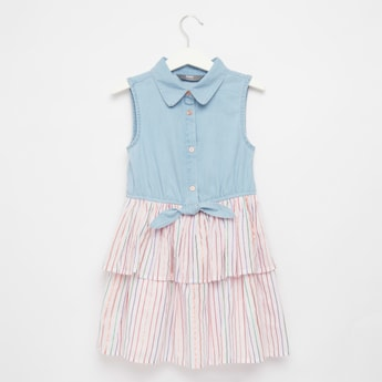 Striped Sleeveless Dress with Spread Collar and Knot Detail