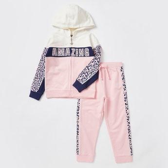 Animal Print Long Sleeves Hoodie and Jog Pants Set