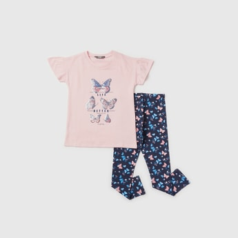 Butterfly Sequin Detail T-shirt with All-Over Print Leggings Set