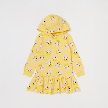 Daisy Duck Print Dress with Hood and Long Sleeves