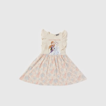 Elsa Print Sleeveless Dress with Frill Detail and Keyhole Closure