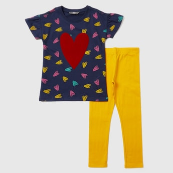 Heart Print Round Neck T-shirt and Leggings Set