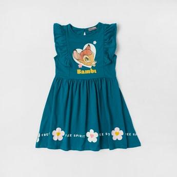 Bambi Print Sleeveless Dress with Frill Detail and Keyhole Closure