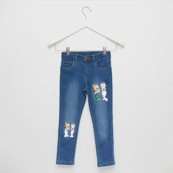 Embellished Full-Length Jeans with Button Closure and Pockets