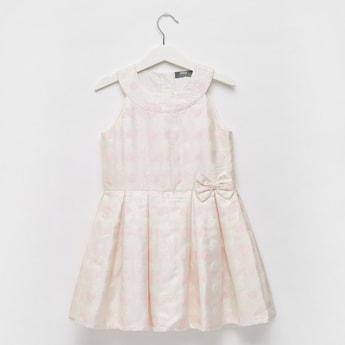 Spot Jacquard Sleeveless Dress with Bow Applique