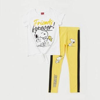 Peanuts Sequin Detail Short Sleeves T-shirt and Leggings Set