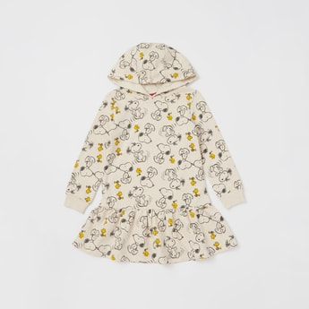All-Over Snoopy Print Dress with Hood and Long Sleeves