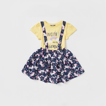 Unicorn Graphic Print T-shirt with All-Over Print Pinafore Set