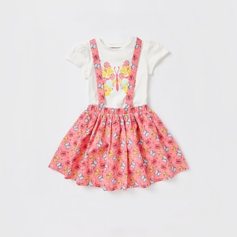 Graphic Print Cap Sleeves T-shirt with All-Over Print Pinafore Set