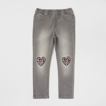 Solid Jeans with Heart Placement Print and Pockets