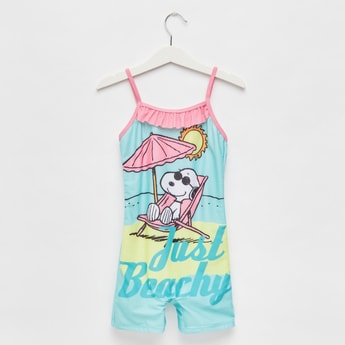 Snoopy Print Swimsuit with Spaghetti Straps